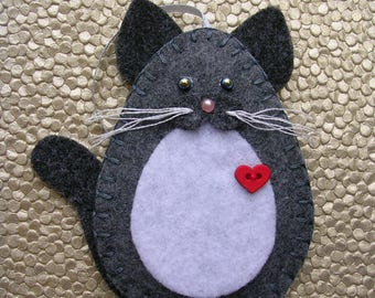 Cat Ornament, Gray & White Cat Ornament, White and Gray Cat Ornament, Felt Cat Ornament