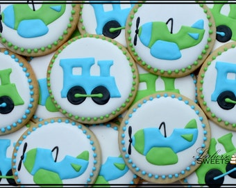 Plane and Train Transportation Cookies (quantity: 12)