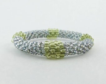Sparkle Bangle, Bead Crochet Rope Bracelet, Ballroom Wedding or Prom Jewelry- Item 1308