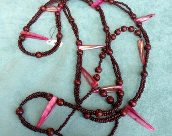 Vintage Bead Necklace, Mother of Pearl Spikes, Pink and Burgundy