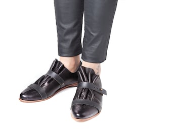 Sale Black Folded shoes with double strap