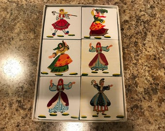Vintage Set of Six Handmade Ceramic Tiles, Greek, Traditional Costumes, Coaters