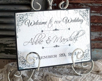 Personalized Welcome to our Wedding Sign Handmade by avintageobsession on etsy