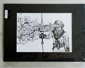 """A5 Mounted Print - """"The Diver"""""""