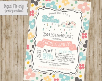 Flower Baby Shower Clouds Invitations, Baby Shower Invitation, Baby Girl Shower Invitation, Baby Boy Shower Invitation, Raining Shower