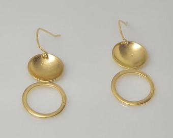 Gold circle earrings, Dangle gold earrings, Gold Earrings, Gift for her,  Elegant earrings, Jewelry handmade