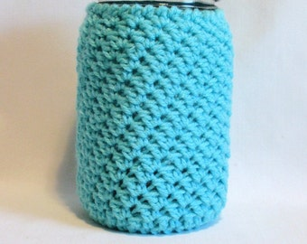 Mason Jar Cozy Turquoise 32 oz Quart Jar Cover, Spring Beverage Jar Cozy, Summer Jar Sleeve, Gift for Her, Mom Sister-in-Law, Back to School
