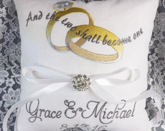 Will Be One Ring Pillow, Ring Bearer Pillow, wedding pillow, embroidery, monogram, custom. personalized