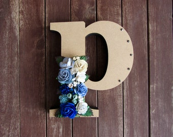Floral Decorated Wooden Letter - lowercase p / wall nursery birthday wedding office decor