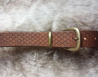 Dragon scale leather belt