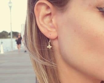 Cute little gold plated Cloud pendant charm 14Kt gold filled hook earrings
