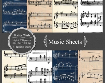 Music Sheet Digital Scrapbooking Kit commercial use background, texture, paper, instant download