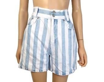 Vintage 90s Vertical Striped High Waisted Denim Shorts Size 27 Waist
