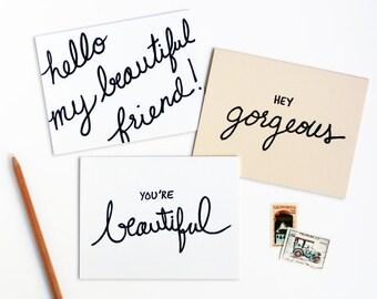 Beautiful Friend Letterpress Note Card Set of Six