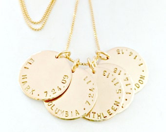 Personalized Gold Necklace - Custom Hand Stamped, 14 K Gold Filled Pendants - Child Name & Birthdate - Everyday Dainty Trendy Mommy Gift