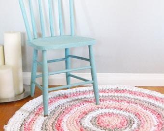 Round Rag Rug | Custom Rug | Girl Nursery Decor | Girl Nursery Rug | Crochet Rag Rug