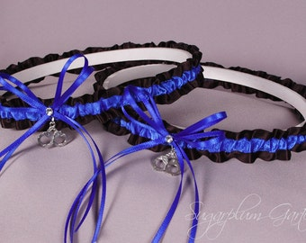 Demi Thin Blue Line Police Officer Wedding Garter Set in Royal Blue and Black Satin with Swarovski Crystals and Handcuff Charms