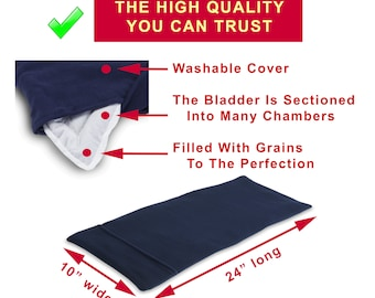 XL Microwave Heating Pad (10x24), Navy Blue, Body Heat Wrap, Back Hip Knee Shoulder Pain Relief, Therapy Pack,Washable Cover