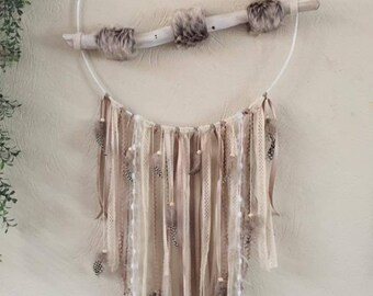 Large dream catcher in shades of beige