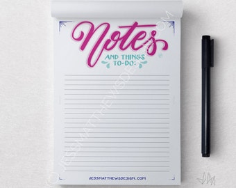 Notes and Things To Do: A5 Notepad Hand Lettering Typography