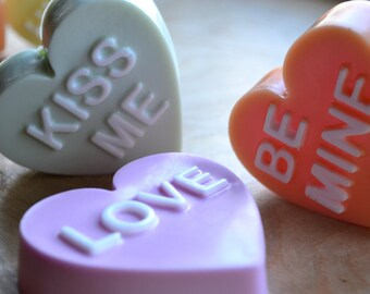 Valentines Day Soap - Individual Conversation Heart Vegan Soap - Your Choice Valentine Soap - Heart Soap