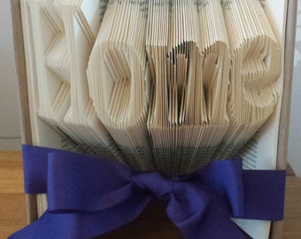 Home book fold, home folded  book art, house warming, new home, new home gift