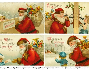 Vintage Santa Claus Christmas Postcards Digital Collage Sheet Full Size Girl Telephone Child Red