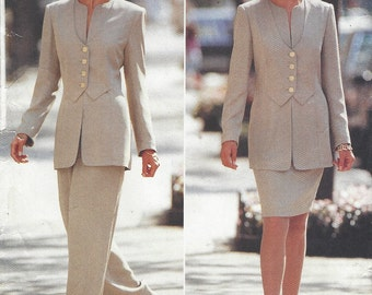 90s Noviello Bloom Womens Jacket with Overlay, Skirt & Pants Butterick Sewing Pattern 3849 Size 12 14 16 Bust 34 36 38 FF Perfect for Office