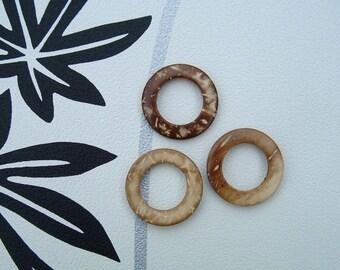 Set of 2 coconut diameter 28mm round beads