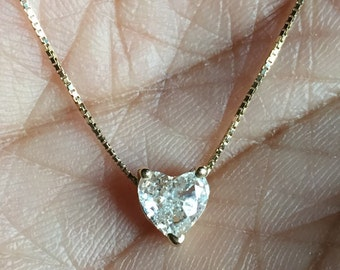 Pure love .50 carat heart shaped diamond solitaire prong set necklace G SI1 fine 14K solid gold chain pendant necklace one of a kind