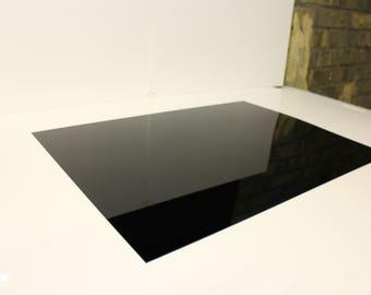 1.5mm Nitto Jushi CLAREX Acrylic Perspex Precision thin sheet Black N-885, size 400x270mm