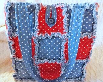 On Sale Red White and Blue Polka Dot Rag Quilt Tote - Handmade - Gift For Her - Rag Quilt Handbag