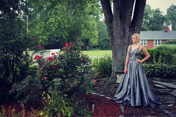 Floor Model - Ready to Ship!, Gray Wedding Dress,  Silver Prom Dress,  Low Cut, Open Back, Full Length Ball Gown,  Bridesmaid Dress,