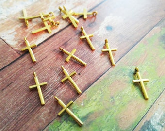 Cross Charms Antiqued Gold Small Cross Charms Catholic Cross Charms Christian Cross Charms 10 pieces 19mm