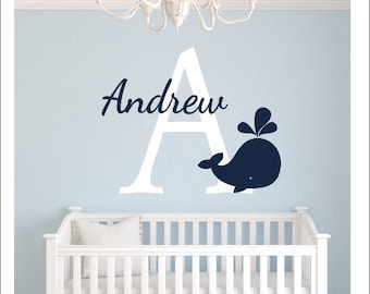 Whale Wall Decal Vinyl Decal Wall Decal Nautical Whale Decal Nautical Nursery Decor Whale Decor Initial Name Whale Personalized Wall Decal