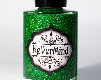 Discontinued - Nephrite - Green Holo Glitter Nail Polish - Emerald Glitter Nail Lacquer - All That Glitters