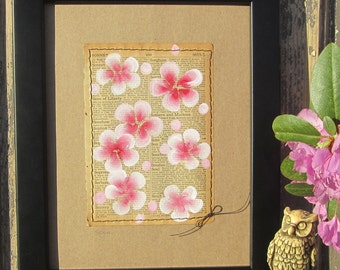Soul... recycled book art, Blossoms painted on an Antique 1930s Encyclopedia book page Stitched to cardstock