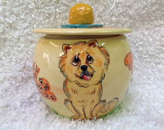 Ceramic Cookie Jar / Hand Painted / Treat Jar / Whimsical Dog / Dog Pottery / Chow / Kitchen / Custom / Debby Carman