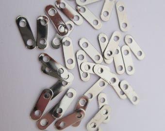 50 connecteur barre lisse 2 rangs 11 x 3.5 mm en métal argenté