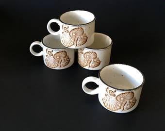 Vintage Pottery Coffee Tea Mugs with a Brown Seashell Motif Design, Set of 4, Made in England