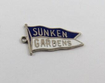 Enameled Sunken Gardens Flag St. Petersburg Florida Sterling Silver Charm of Pendant.