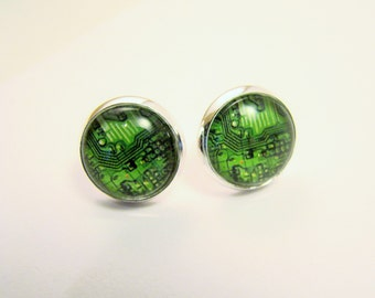 CIRCUIT BOARD Petite Silver Stud Earrings -- Green techno art, Computer, electronic technology