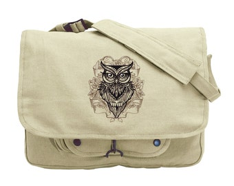 Owl You Need Embroidered Canvas Messenger Bag