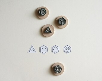 Polyhedra - Set of Four Geometric Hand-Carved Rubber Stamps