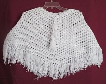 Girls Lacy White Poncho-white crochet poncho-poncho with fringe-girls white capelet-lacy capelet
