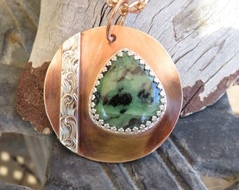 C-60 African Turquoise Copper Pendant Necklace, Metalsmith Jewelry, Coppersmith Jewelry, Turquoise Jewelry
