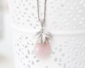 Rose quartz necklace Leaf necklace Pink necklace Rose quartz pendant Teardrop necklace Pink quartz necklace Silver Floral necklace 755