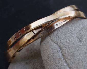 Arrows and Bars Bracelet Set, Hammered Bronze Cuffs, Arrow Cuff, Travel Lovers Jewelry, Bronze Anniversary Gift
