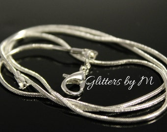 18 Inch Silver Plated Snake Necklace Chain with Lobster Clasp