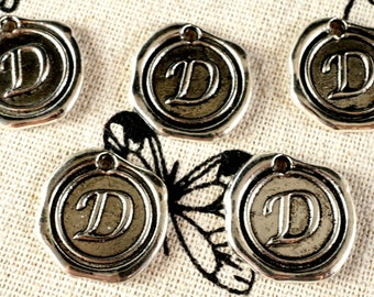 Alphabet letter D wax seal charm silver vintage style jewellery supplies